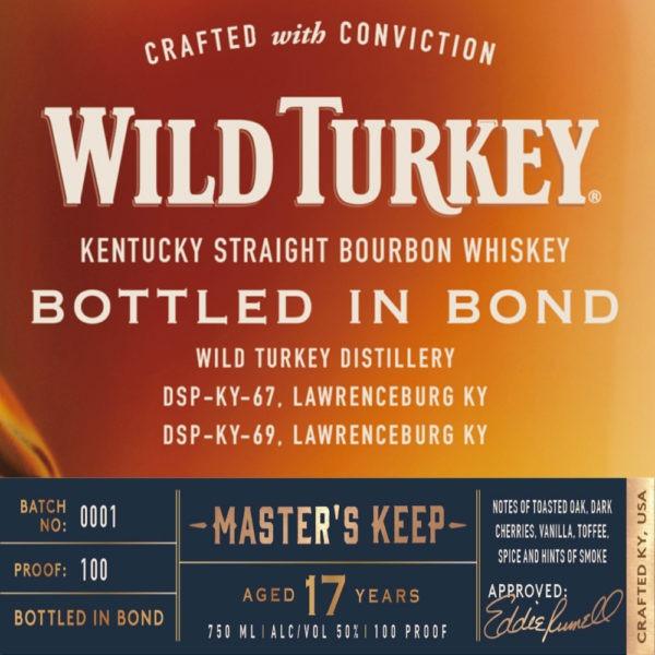 wild turkey master's keep bottled in bond 17 year